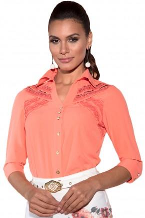 camisa coral entremeios bordados social via tolentino viaevangelica frente detalhe