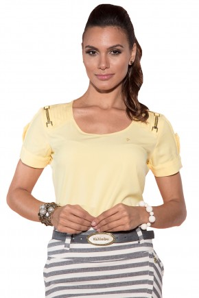 blusa amarela nervuras manga curta via tolentino viaevangelica frente detalhe