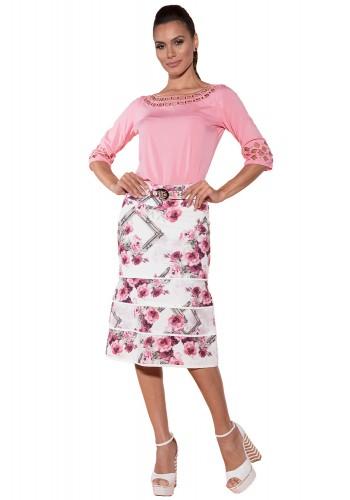 blusa rosa bordada decote vazado via tolentino viaevangelica frente