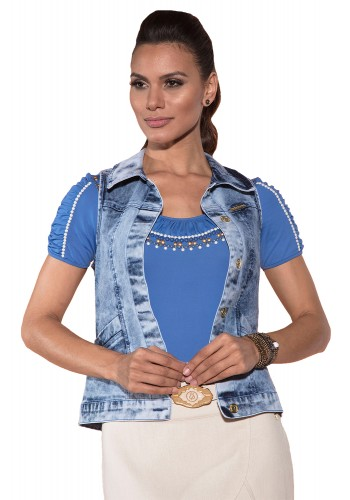 colete jeans blusa azul drapeados bordada manga curta saia longa off white com cinto via tolentino viaevangelica frente detalhe 4