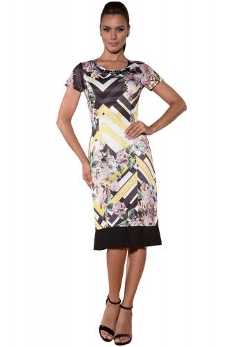 vestido barra plissada estampa floral e geometrica decote bordado via tolentino viaevangelica frente