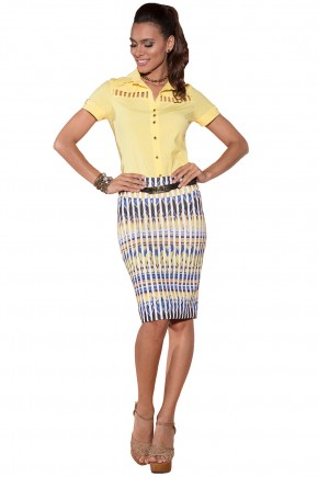 conjunto camisa amarela saia estampa etnica via tolentino viaevangelica frente