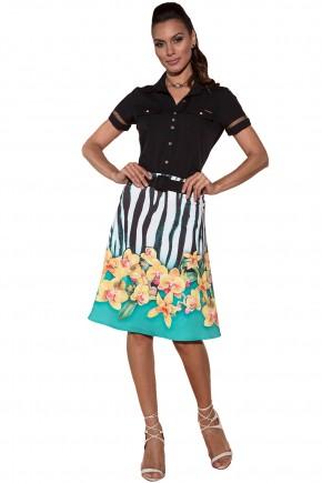 conjunto camisa preta manga entremeios saia gode estampa animal print e floral via tolentino viaevangelica frente