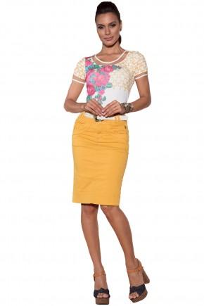 blusa branca estampa floral e scarf print decote tule via tolentino viaevangelica frente