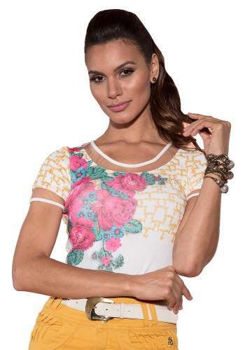 blusa branca estampa floral e scarf print decote tule via tolentino viaevangelica frente detalhe
