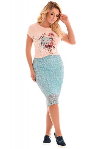 conjunto blusa rose estampa floral frase saia azul claro rendada plissada fascinius viaevangelica frente