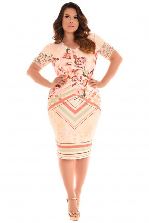 vestido plus size bege estampa floral e geometrica manga renda fascinius viaevangelica frente