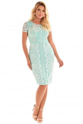 vestido verde claro renda branca justo bordado fascinius viaevangelica frente