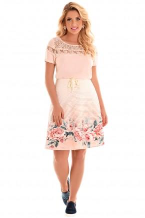 conjunto blusa rose renda e guipir saia evase rose estampa floral e listras amarracao fascinius viaevangelica frente