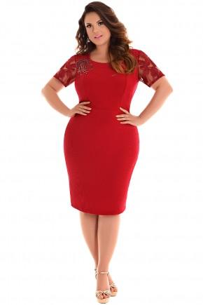 vestido plus size justo vermelho bordado manga tule fascinius viaevangelica frente