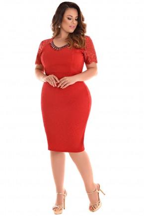 vestido vermelho justo plus size vermelho manga renda gola bordada fascinius viaevangelica frente