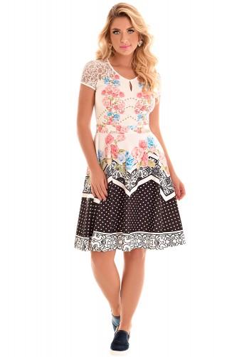 vestido gode colorido estampa floral poa geometrica manga renda fascinius viaevangelica frente