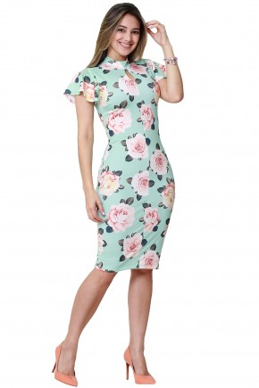 vestido verde claro tubinho estampa floral gola alta decote gota manga ampla tata martello viaevangelica frente 2