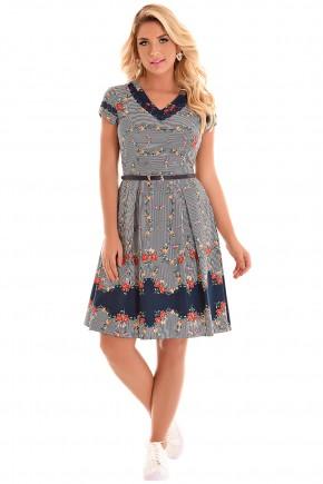 vestido gode azul escuro estampa passaros floral e listras decote v com cinto azul fascinius viaevangelica frente