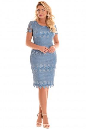 vestido azul claro tubinho sobreposicao guipir manga curta fascinius viaevangelica frente