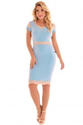 vestido alfaiataria azul claro e rose bordado manga curta fascinius viaevangelica frente