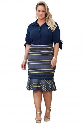 conjunto camisa azul escuro saia sino listras plus size kauly viaevangelica frente