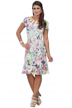 vestido estampa floral decote vazado kauly viaevangelica frente