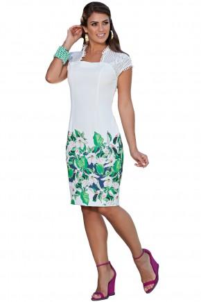 vestido branco estampa floral e folhagem com renda kauly viaevangelica frente
