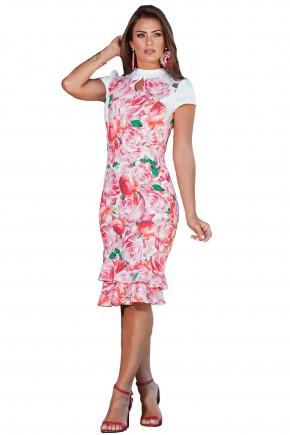 vestido estampa floral gola alta decote gota kauly viaevangelica frente