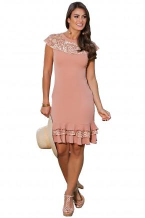 vestido rose renda e babados kauly viaevangelica frente