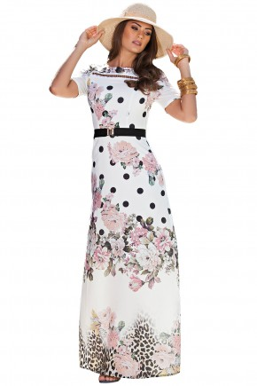 vestido longo esmpa floral animal print e poa kauly viaevangelica frente