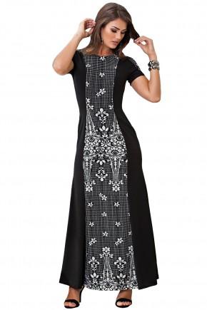 vestido longo preto e branco estampa floral kauly viaevangelica frente