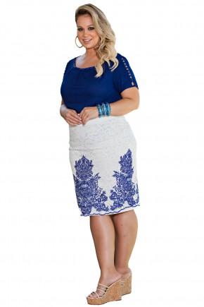 conjunto plus size blusa azul manga entremeios saia branca renda estampa azul kauly viaevangelica frente