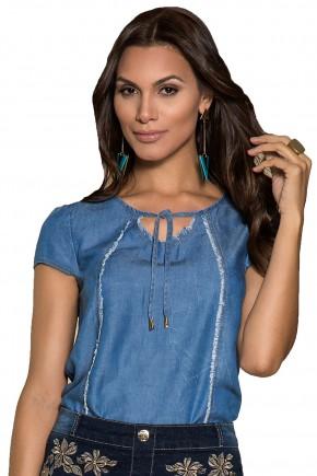 blusa jeans gola amarracao detalhes puidos manga curta nitido viaevangelica frente detalhe