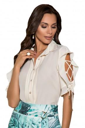 blusa off white manga babados trancada nitido viaevangelica frente detalhe