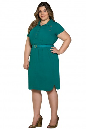vestido plus size evase verde com cinto nitido viaevangelica frente