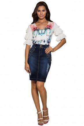 blusa off white estampa floral manga com elastico nitido viaevangelica frente
