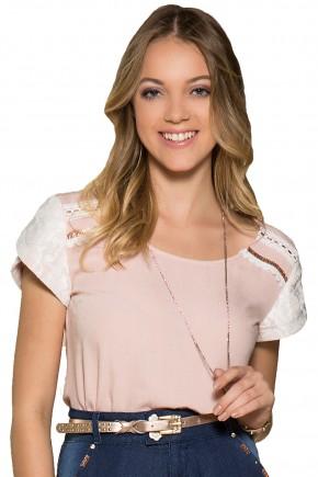 blusa rosa e branca moda teen manga rendada bordada nitido viaevangelica frente detalhe