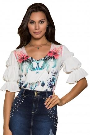 blusa off white estampa floral manga com elastico nitido viaevangelica frente detalhe