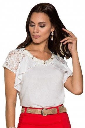 blusa branca bordada perolas manga renda babados nitido viaevangelica frente detalhe