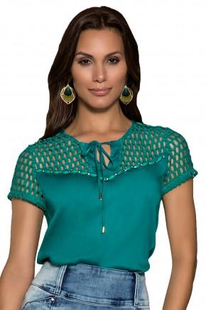 blusa verde escuro amarracao rendada nitido viaevangelica frente detalhe