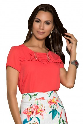 blusa vermelha babados bordada nitido viaevangelica frente detalhe