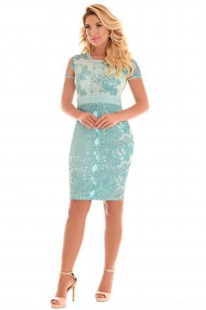 vestido tubinho azul claro rendado bordado fascinius viaevangelica frente