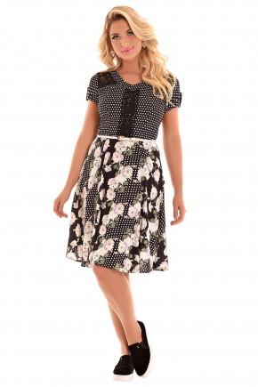 vestido gode preto estampa floral e poa rendado com cinto fascinius viaevangelica frente