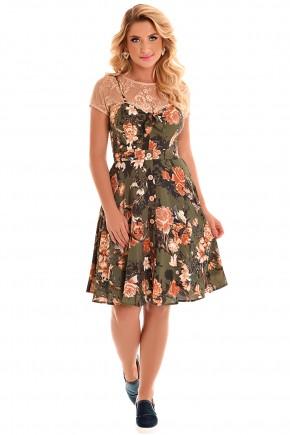 vestido gode alcinha verde militar estampa floral botoes blusa rendada fascinius viaevangelica frente