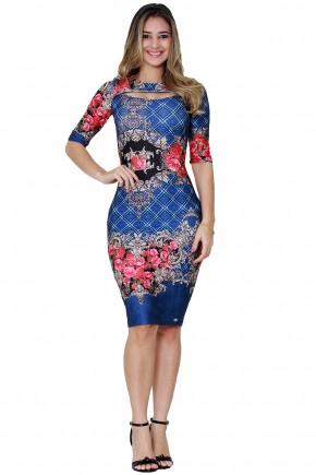 vestido justo azul escuro estampa floral e arabescos decote vazado tata martello viaevangelica frente
