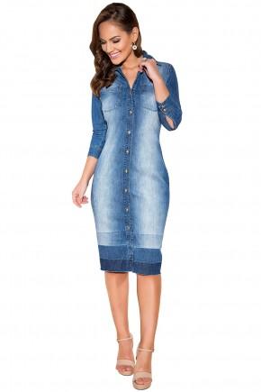 vestido chemise jeans claro botoes titanium viaevangelica frente