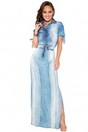 saia longa jeans claro fenda lateral ziper frontal titanium viaevangelica frente