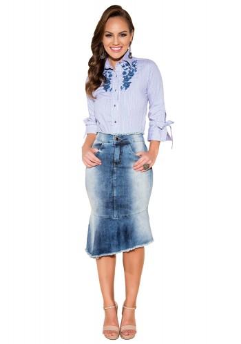 saia sino assimetrica jeans manchado barra desfiada titanium viaevangelica frente