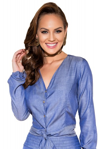 blusa manga longa decote v amarracao cintura titanium viaevangelica frente
