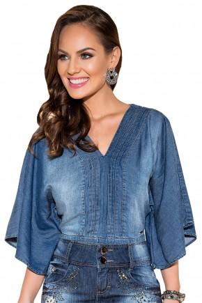 blusa jeans escuro mangas amplas decote v titanium viaevangelica frente fileminimizer