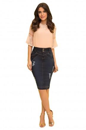 saia tradicional jeans escura puidos laura rosa viaevangelica frente
