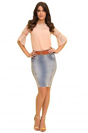 saia reta jeans com cinto laura rosa viaevangelica frente