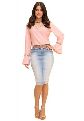 saia tradicional jeans claro com cinto laura rosa viaevangelica frente