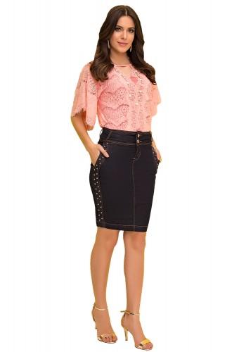 saia tradicional jeans escuro aplicacao tachas laterais laura rosa viaevangelica frente